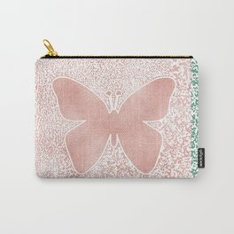 Snow White Peach Butterfly Abstract Pattern Carry-All Pouch