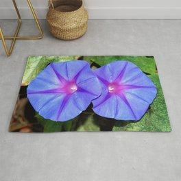 Vivid Blue, Purple and Pink Ipomoea Flowers Rug