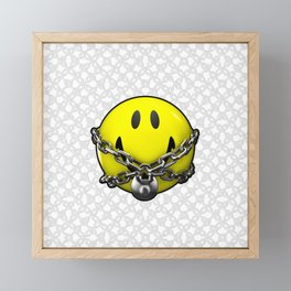 Quit Your Grinning / 3D chained up smiley Framed Mini Art Print