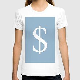 dollar sign on placid blue color background T-shirt