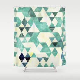 Abstract Green Triangles, Watercolor Pattern Shower Curtain