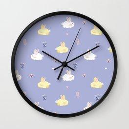 Cute calm bunnies pattern Wall Clock