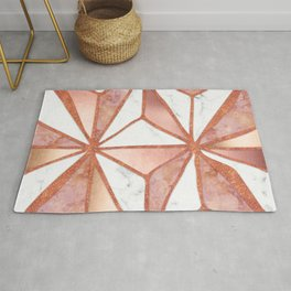 Rose Gold Marble Geometric Abstract Rug