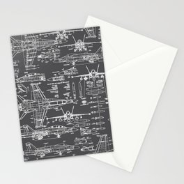F-18 Blueprints // Charcoal-Grey Stationery Cards