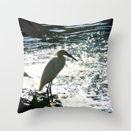 The Egret Throw Pillow