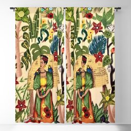 Coyoacán Mexican Garden of Casa Azul Lush Tropical Greenery Floral Landscape Painting Blackout Curtain