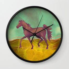 Wild Horse in the Burning Desert - Climate Change Awareness Wall Clock