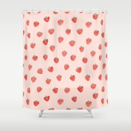 Strawberries on Pink Shower Curtain