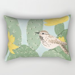 Prickly Pear with Wrens  Rectangular Pillow