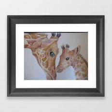 Mom and Baby Giraffe Framed Art Print