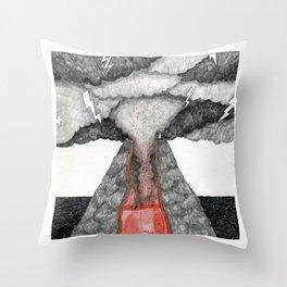 robot volcano Throw Pillow