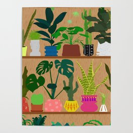 Plants on the Shelf in Warm Wood Poster