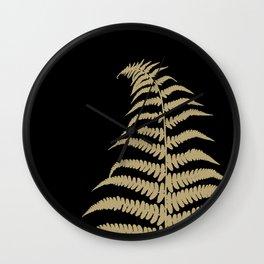 Fern Leaf Gold on Black #1 #ornamental #decor #art #society6 Wall Clock