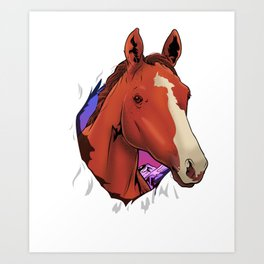 Cute Horse Breaking Out Horseriding & Horse Owners Art Print