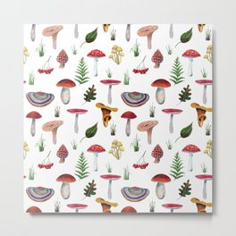 Mushrooms, leaves, grass, mountain ash. Drawn with colored pencils. Metal Print