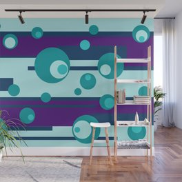 Geometic Circles turquoise purple Wall Mural