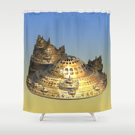 City of Gold Fractal Shower Curtain
