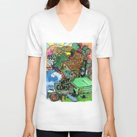west coast V-neck T-shirts featuring west coast. by Late Bloomer