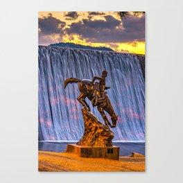 Mountain Man and Evergreen Colorado Lake Dam Waterfall at Sunset Canvas Print