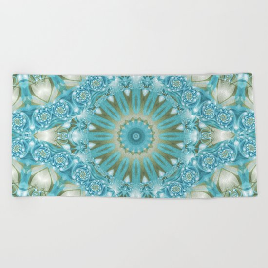 Turquoise and Gold Mandala Tile Beach Towel
