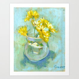 Still life with yellow flowers in a vase. Art Print
