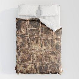 Alligator Skin // Tan and Brown Worn Textured Pattern Animal Print Comforters
