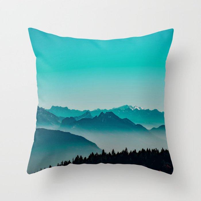 Rise above the mist. Turquoise Deko-Kissen
