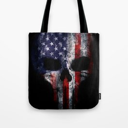 American Flag Punisher Skull Grunge Distress USA Tote Bag