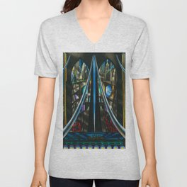 Brooklyn Bridge, New York City Skyline Art Deco landscape painting by Joseph Stella Unisex V-Neck