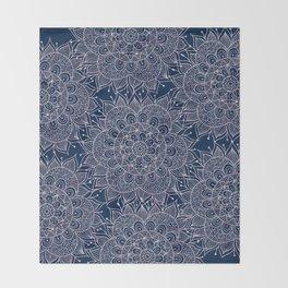 Modern navy blue blush pink watercolor floral mandala Throw Blanket