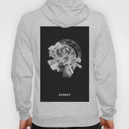 Sydney, Australia Black and White Skyround / Skyline Watercolor Painting (Inverted Version) Hoody