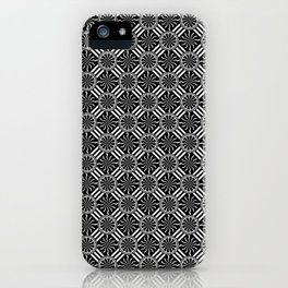 Wavy Black and White Pinwheel and Stripes Pattern - Graphic Design iPhone Case
