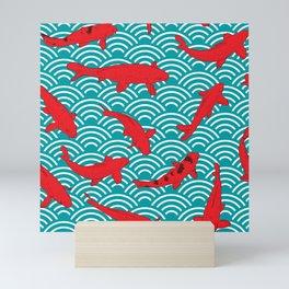 Koi carp. Red fish. black outline sketch doodle. azure teal burgundy maroon Nature oriental backgrou Mini Art Print