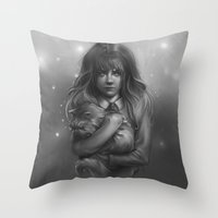 hermione Throw Pillows featuring Hermione by AlchemyArt