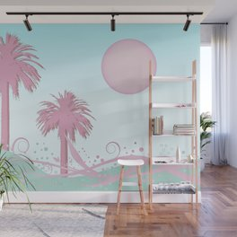 Surfer Wave And Palm Trees In Candy Colors Wall Mural