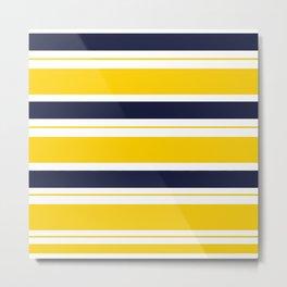 Yellow and Blue Horizontal Lines Stripes Metal Print