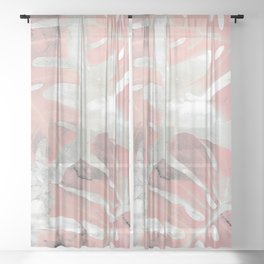 Pink Ombre Monstera Sheer Curtain