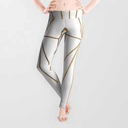 Gold Geometric Pattern Illustration Leggings