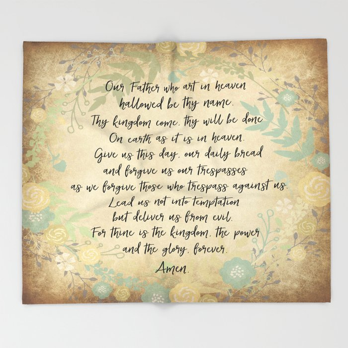Vintage: The Lord's Prayer  Throw Blanket