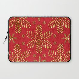DP044-2 Gold snowflakes on red Laptop Sleeve
