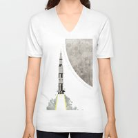 apollo V-neck T-shirts featuring Apollo Rocket by WyattDesign
