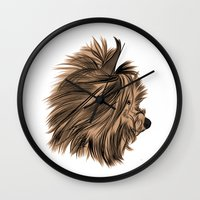 yorkie Wall Clocks featuring Burt Reynolds the Yorkie  by Rachel Barrett