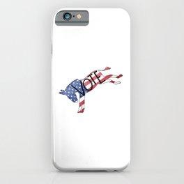 Vote Democrat Donkey Distressed USA Flag Design iPhone Case