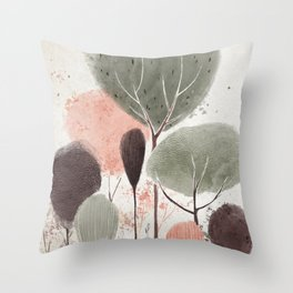 Abstract spring forest digital illustration Throw Pillow