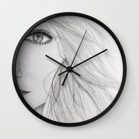 emma stone Wall Clocks featuring Emma Stone Drawing by Olivia Scotton