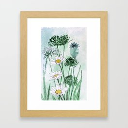 Thistles and Daisies Framed Art Print