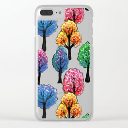 Forest - Tree Pattern Illustration - Acrylic Painting Clear iPhone Case