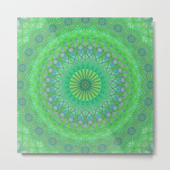 Green web mandala Metal Print