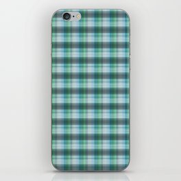 Gray blue checkered pattern . iPhone Skin