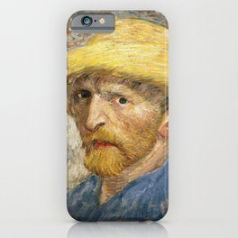 Vincent Van Gogh - Self portrait with straw hat iPhone Case
